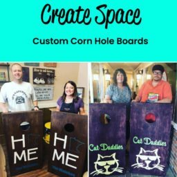 Example of two sets of custom corn hole boards.