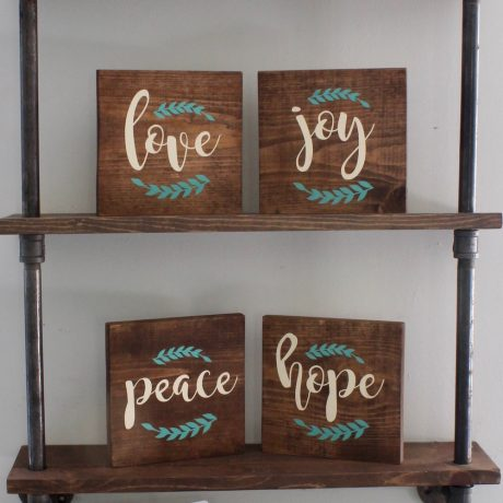 Blessings set on pipe shelf